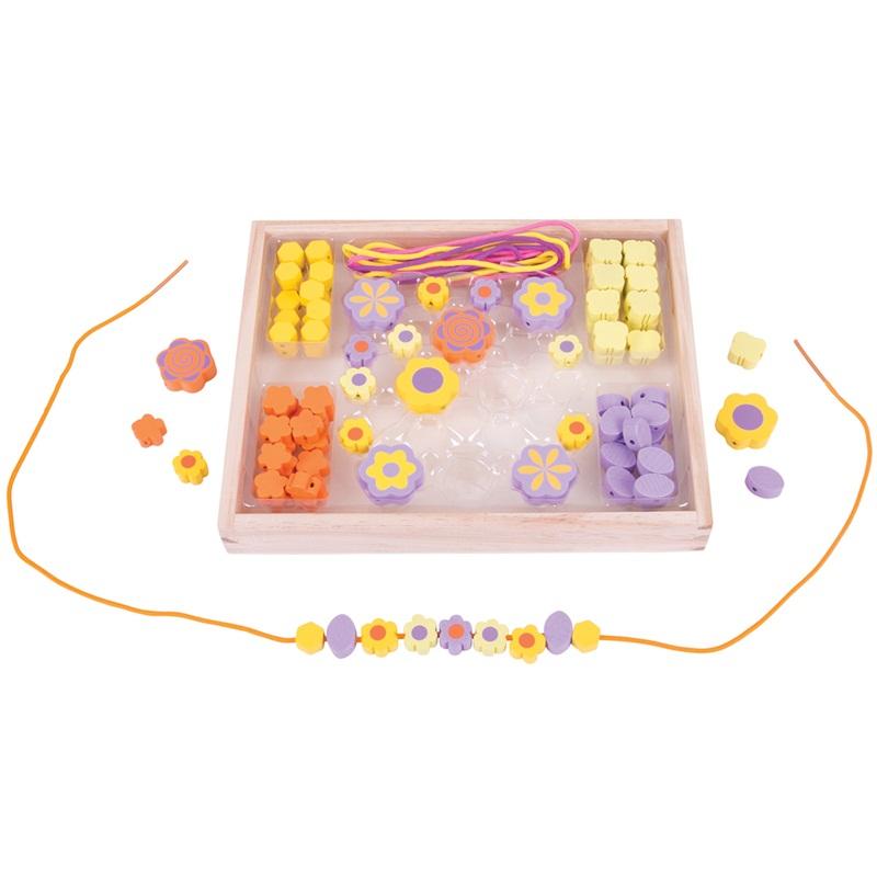 Bigjigs Toys Dřevěné hračky - Navlékací korálky Květinky