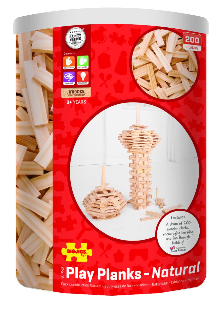 Bigjigs Toys hrací desky natural 200 dílů