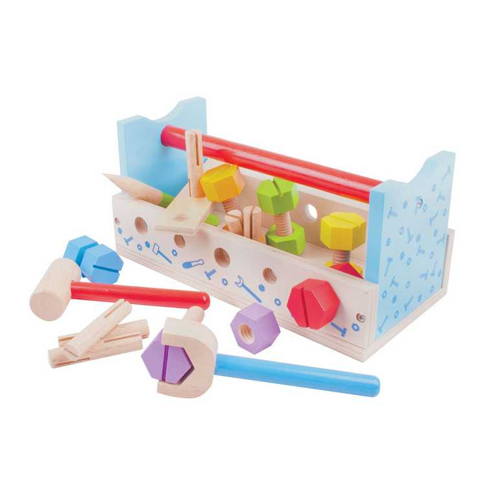Bigjigs Toys dřevěné hračky - Ponk a přepravka na nářadí 2v1