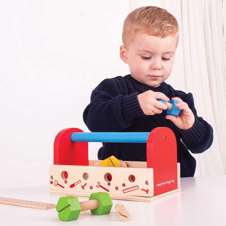 Bigjigs Toys dřevěné hračky - Moje nářadí v přepravce