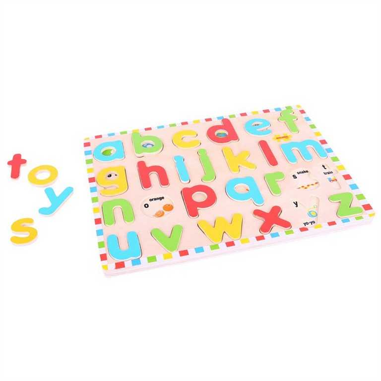 Vkládací puzzle Bigjigs - Anglická malá abeceda s obrázky