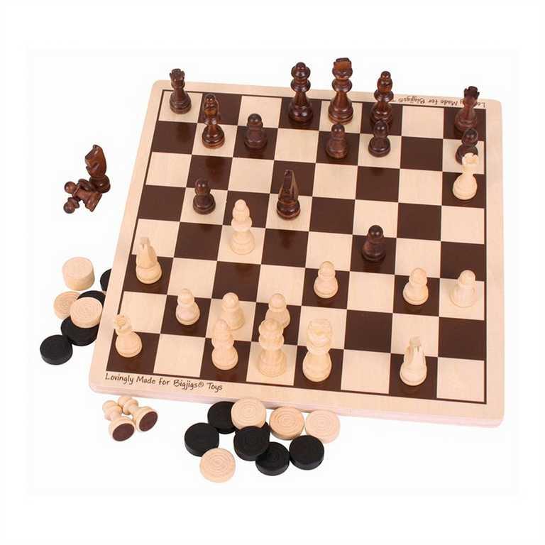 Bigjigs dřevěné šachy a dáma