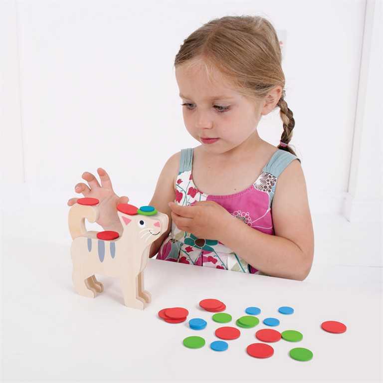 Bigjigs Toys dřevěná motorická hra - Kolik kočka unese?