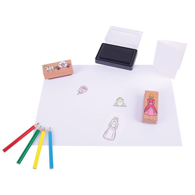 Bigjigs Toys Dřevěné razítka s pastelkami Pohádka