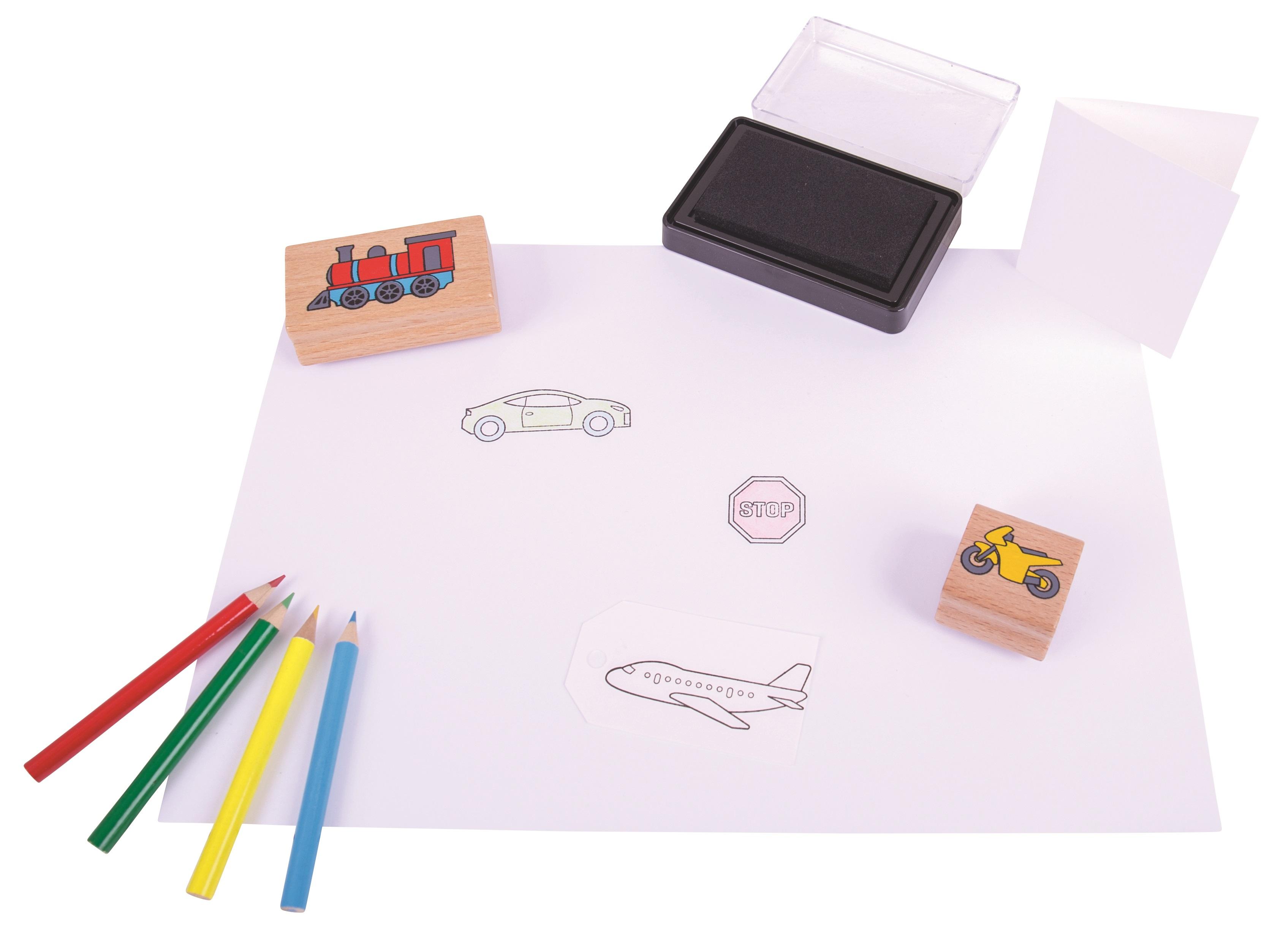 Bigjigs Toys razítka a pastelky - dopravní prostředky