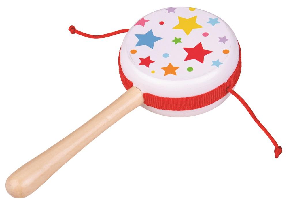 Bigjigs Toys drevený rotačný bubienok - hviezdičky