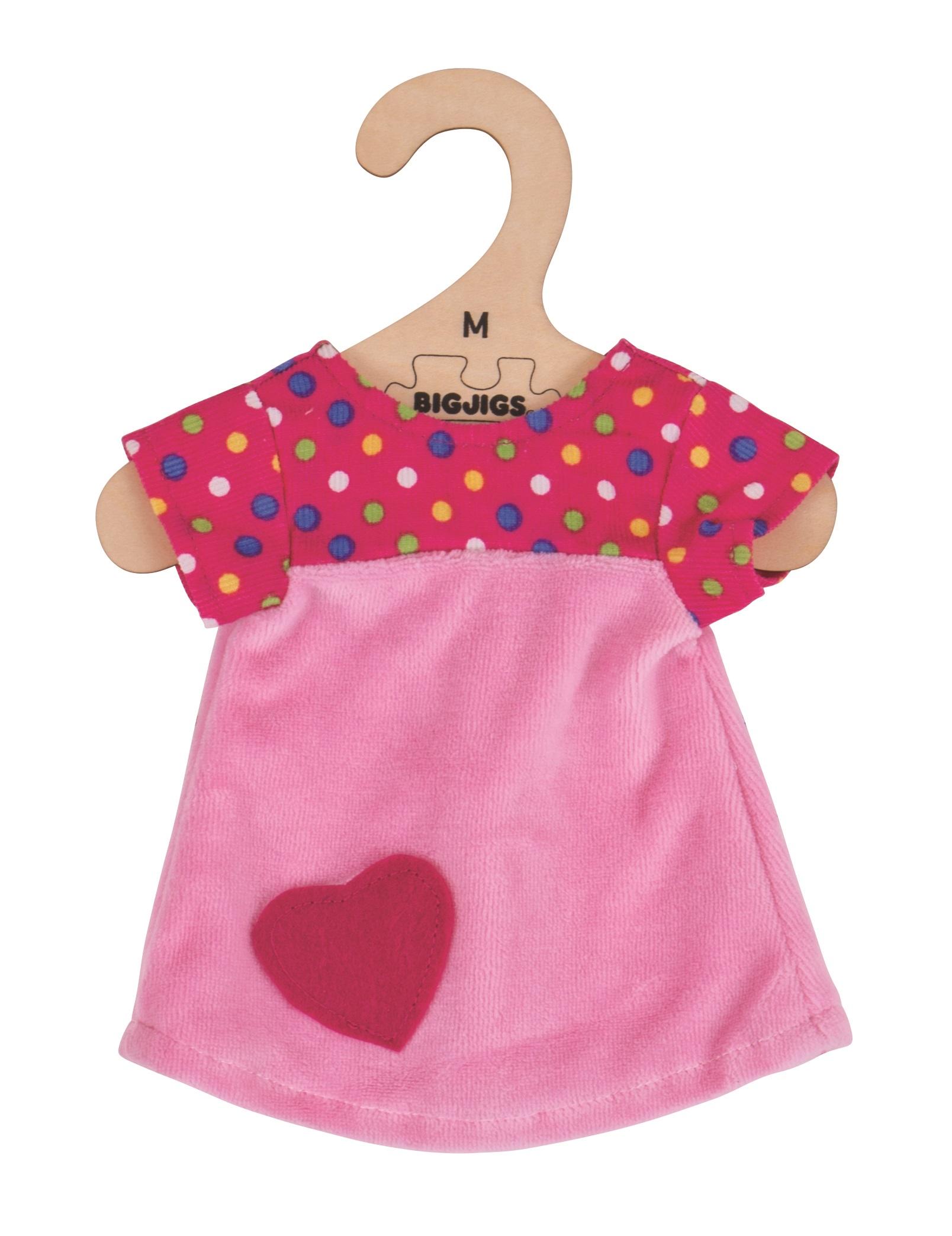 Bigjigs Toys růžové tričko se srdíčkem 34 cm
