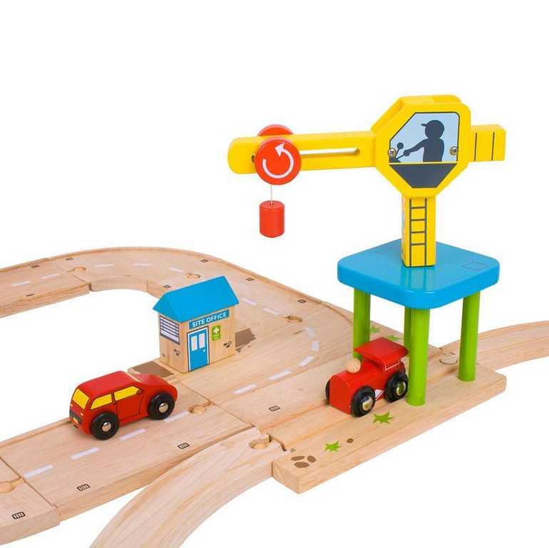Bigjigs Rail autodráhy - Cesta s jeřábem a autonájezdy