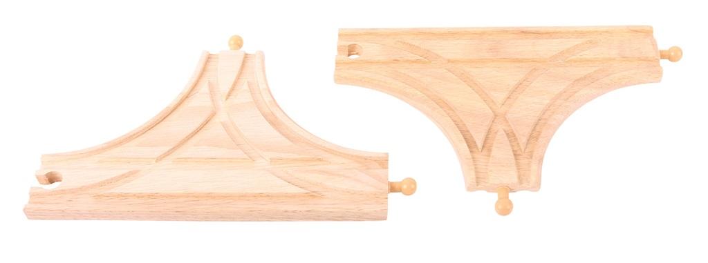 T výhybka dřevěné vláčkodráhy Bigjigs - 2ks