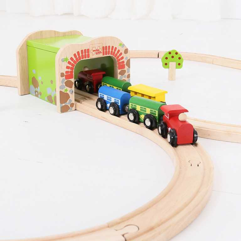 Bigjigs Rail dřevěná vláčkodráha - Dvojitý železniční tunel