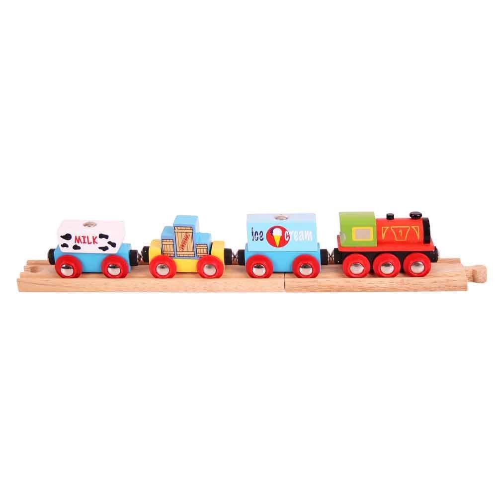 Dřevěná vláčkodráha Bigjigs - Vlak se zbožím + 3 koleje
