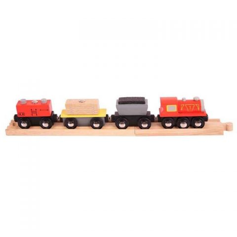 Dřevěná vláčkodráha Bigjigs - Nákladní vlak + koleje