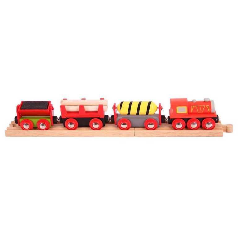 Bigjigs Rail vláčkodráha - Nákladní vlak červený + 3 koleje