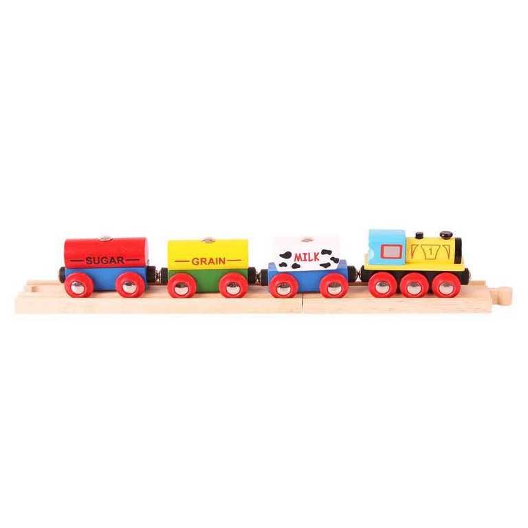 Vláček Bigjigs - Nákladní vlak s potravinami + 2 koleje