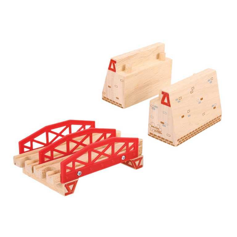Dřevěné vláčkodráhy Bigjigs - Dvojitý most s nájezdy