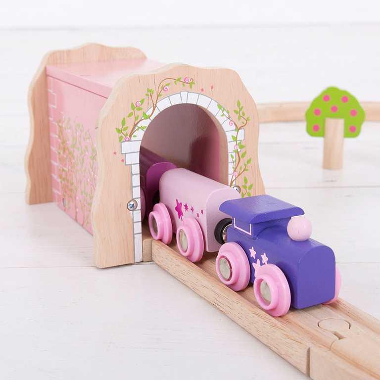 Bigjigs Rail dřevěná vláčkodráha - Růžový železniční tunel