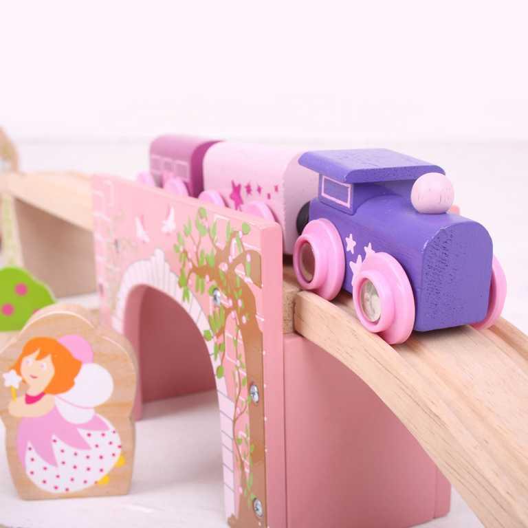 Bigjigs Rail dřevěné vláčkodráhy - Růžový klenutý most