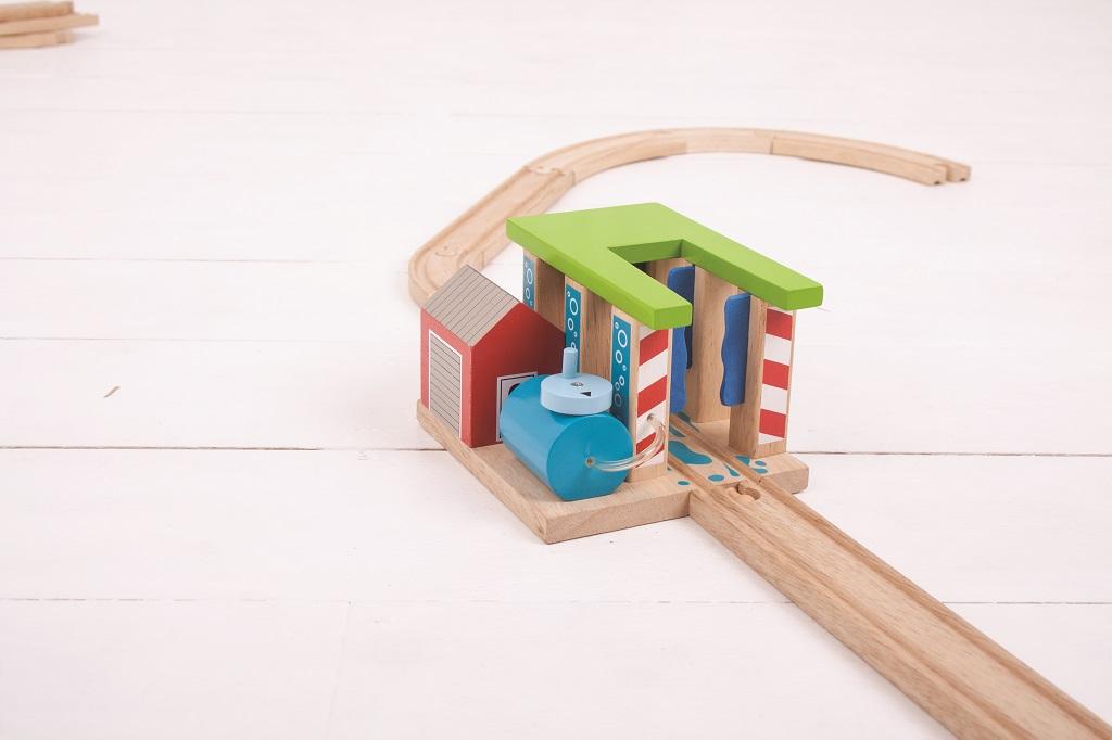 Dřevěné vláčkodráhy Bigjigs - Vlaková myčka