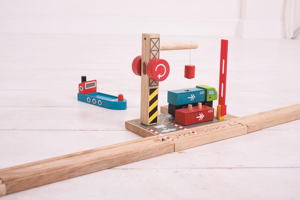 Dřevěné vláčkodráhy Bigjigs - Kontejnerové překladiště