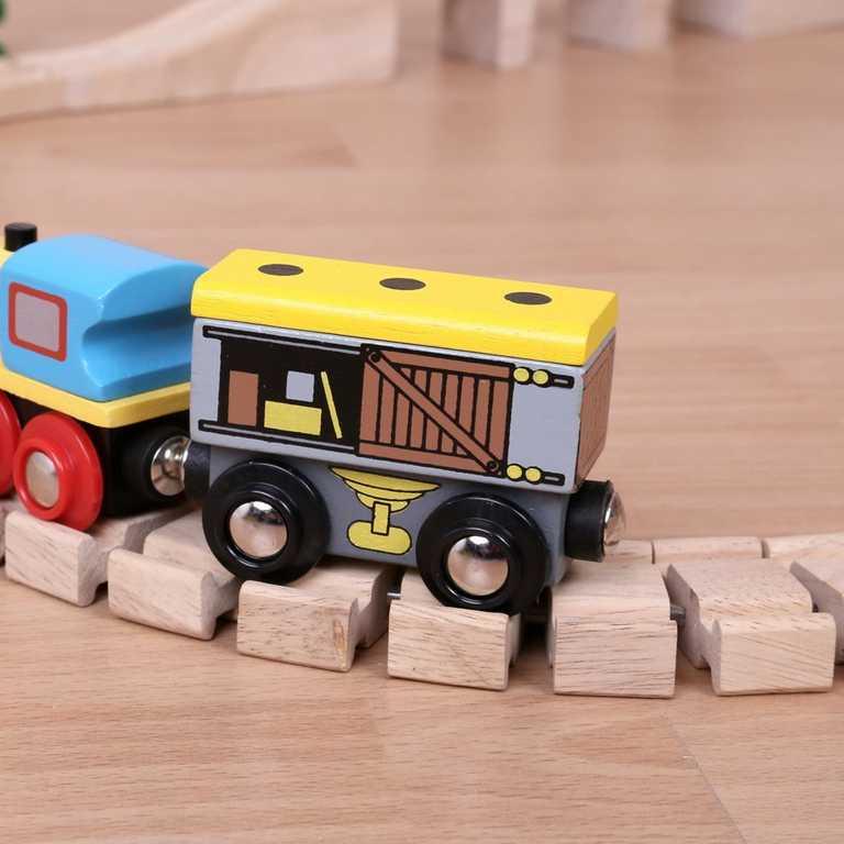 Dřevěná vláčkodráha Bigjigs - Vagónek se zbožím