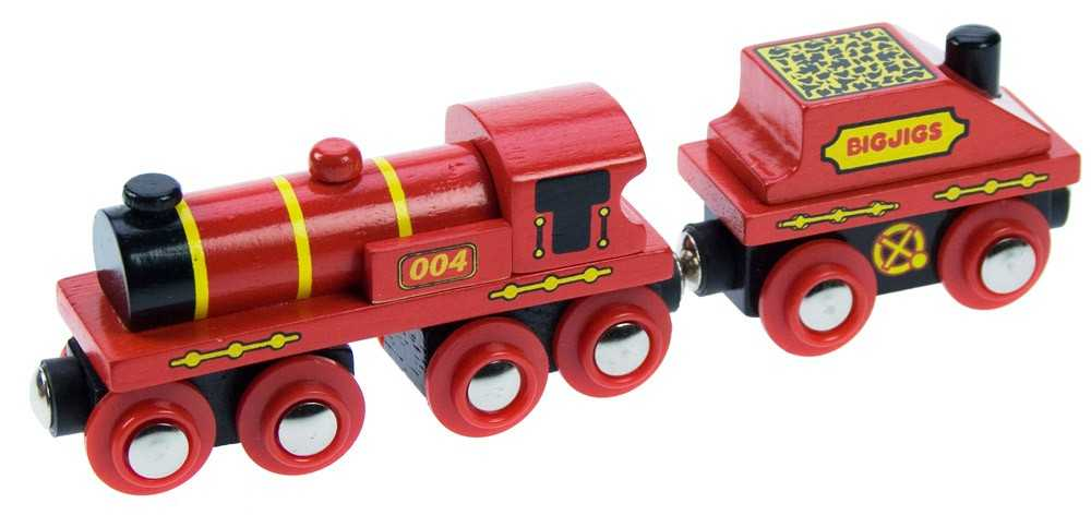 Vláček Bigjigs - Červená lokomotiva s tendrem + 3 koleje