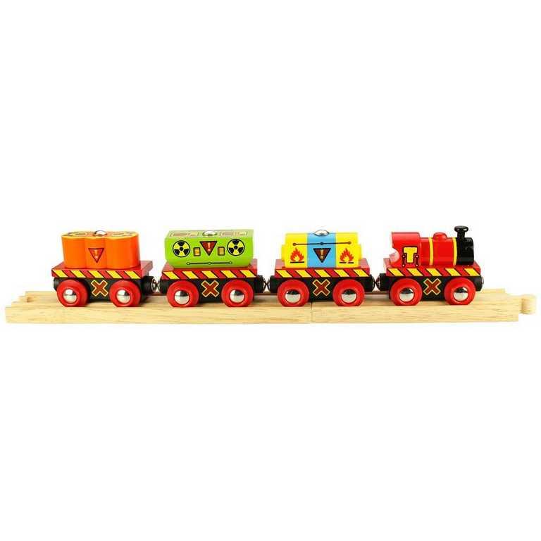 Bigjigs Rail - Vláček s nebezpečným nákladem + 2 koleje