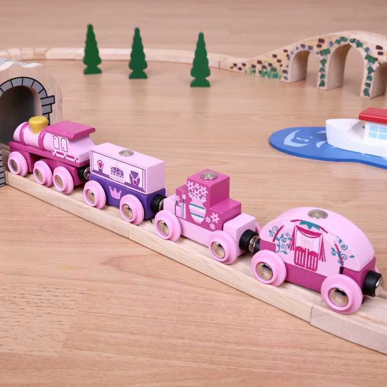 Vláček vláčkodráhy Bigjigs - Vlak pro princezny + 3 koleje