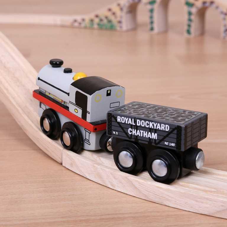 Bigjigs dřevěná replika lokomotivy - Peckett + 2 koleje