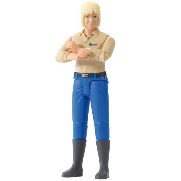 Bruder - Figurka - žena, sv. vlasy, modré kalhoty, bílá koš