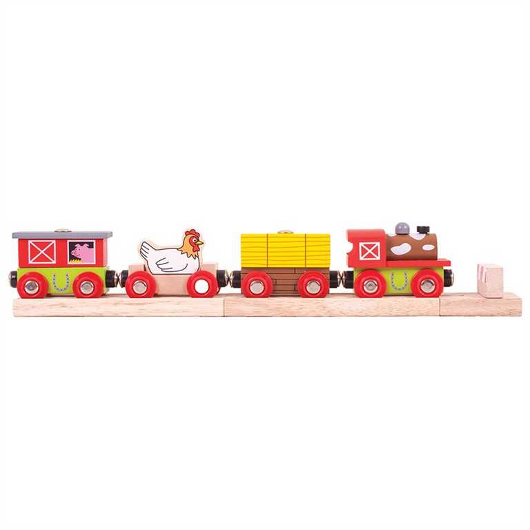 Bigjigs Rail vláčkodráhy - Vláček farma + 3 koleje