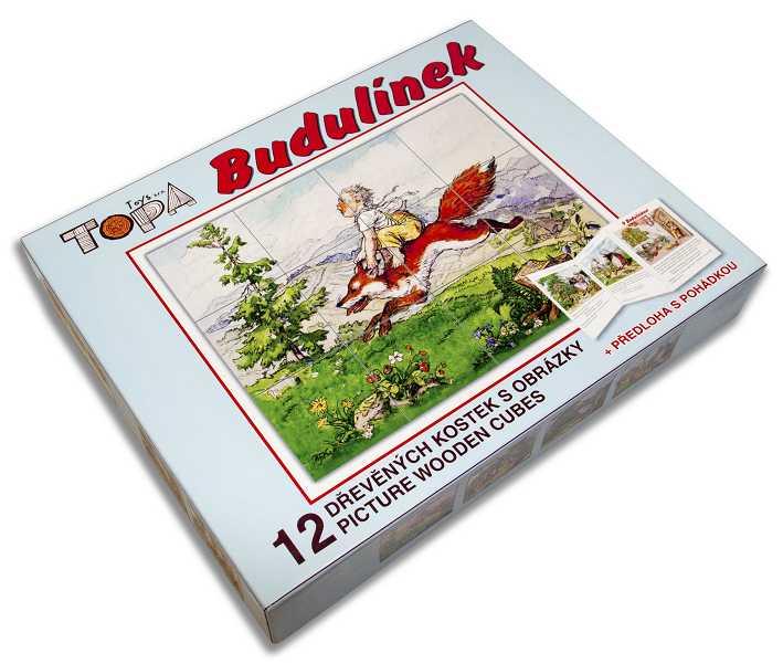 Dřevěné obrázkové kostky kubusy- Budulínek 12 kostek+pohádka