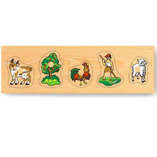 Dřevěné hračky - Vkládací puzzle - Vkládačka -Zvířata domácí