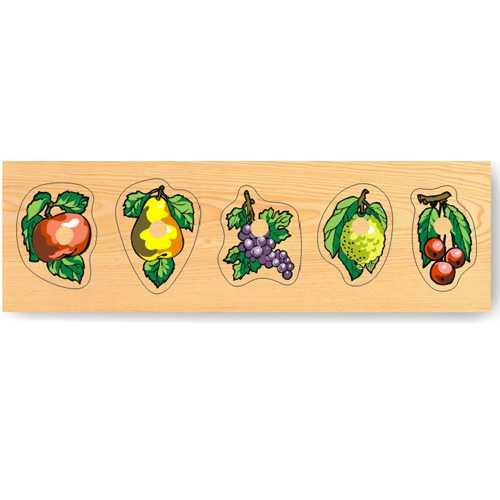 Dřevěné hračky - Vkládací puzzle - Vkládačka Ovoce s úchyty
