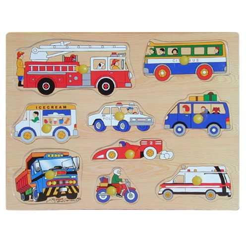 Dřevěné hračky - Vkládací puzzle - Dopravní prostředky B