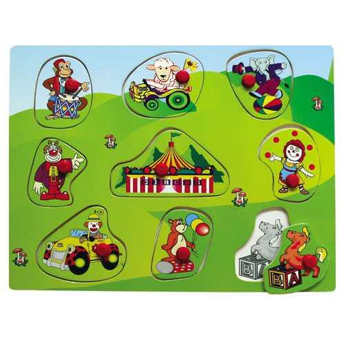 Drevené vkladacie puzzle cirkus