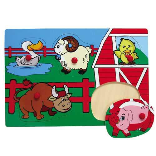 Dřevěné hračky - Vkládací puzzle Vkládačka Domácí zvířata B