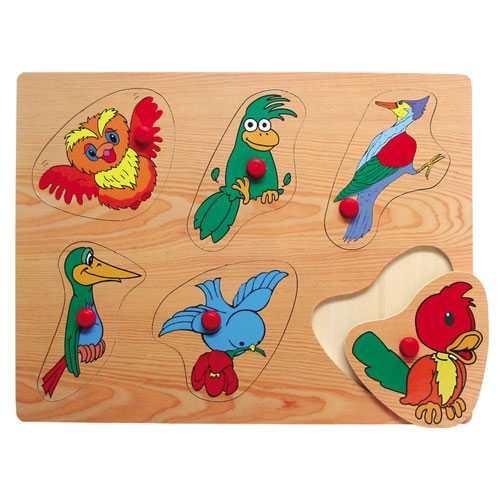 Dřevěné hračky - Vkládací puzzle - Vkládačka - Ptáčci