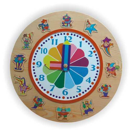 Dřevěné hračky - Vkládací výukové puzzle - Hodiny klaun