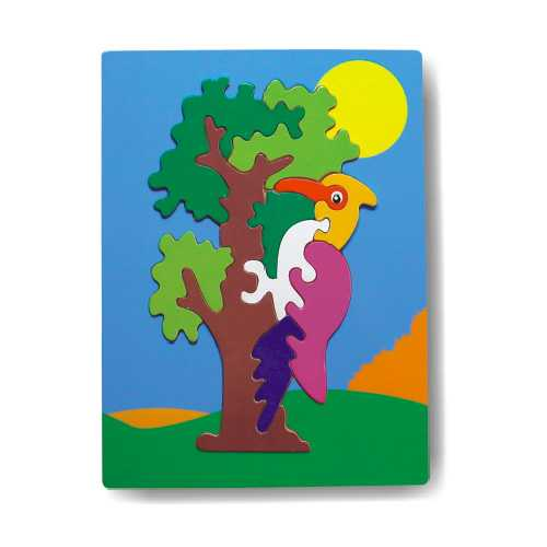 Dřevěné hračky - Vkládací puzzle - Vkládačka - Papoušek