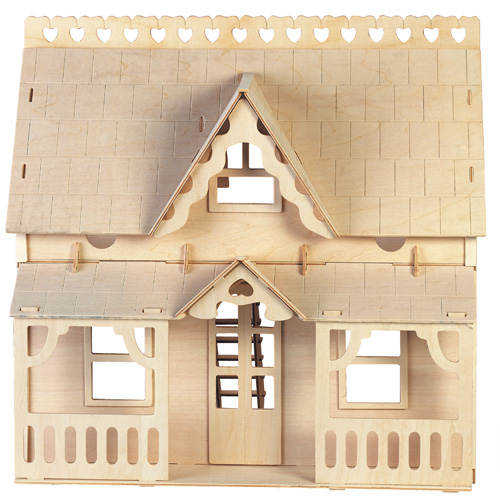Dřevěné skládačky 3D puzzle - Dům s verandou DH003