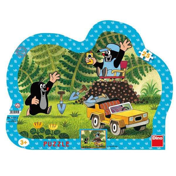 Papírové puzzle 25 dílků Krtek se žlutým autem