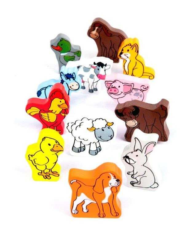 HAPE devěné hračky - dřevěné barevné domácí zvířátka