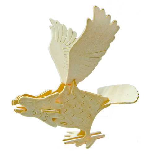 Dřevěné 3D puzzle dřevěná skládačka ptáci - Sokol E037