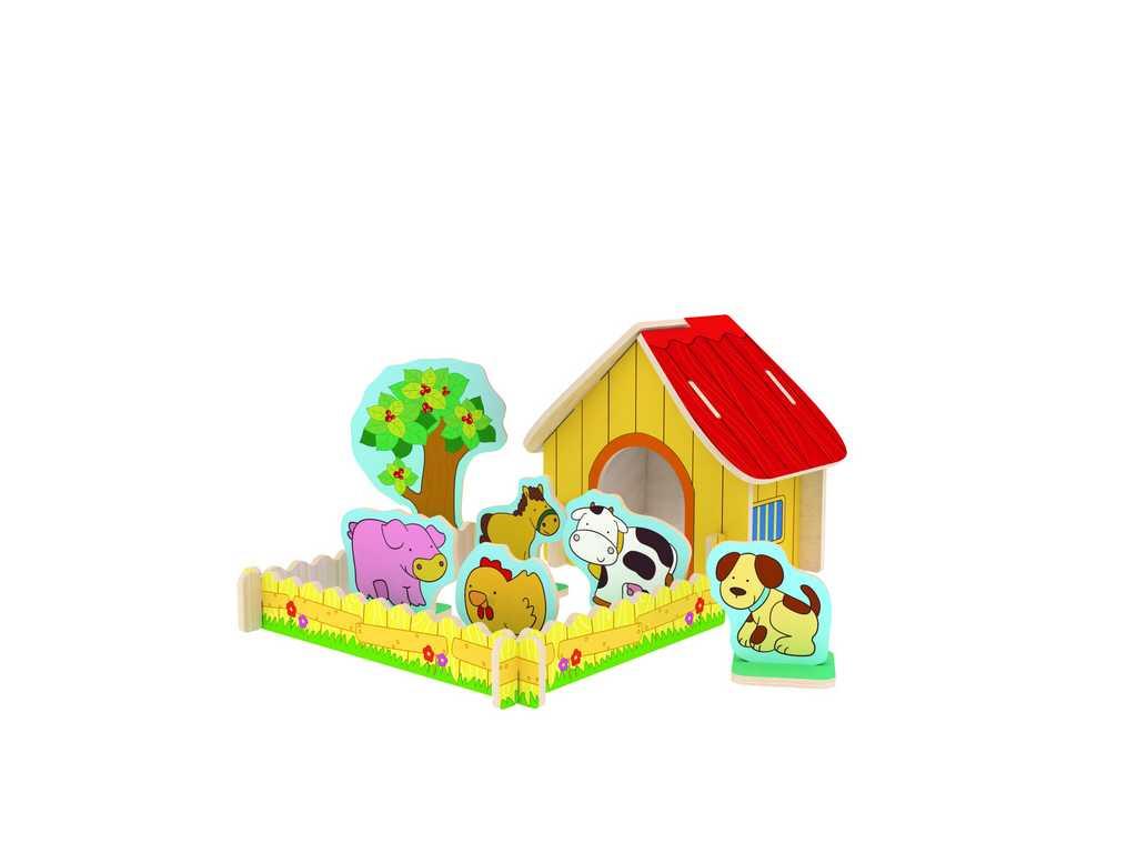 Dřevěné skládačky 3D puzzle - Farma