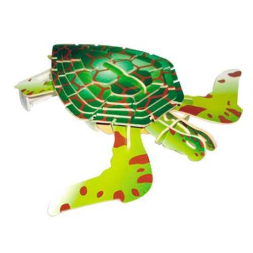 Dřevěné 3D puzzle dřevěná skládačka zvířata - Želva EC009