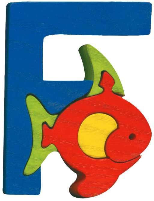 Dřevěné vkládací puzzle z masivu - Abeceda písmenko F rybka