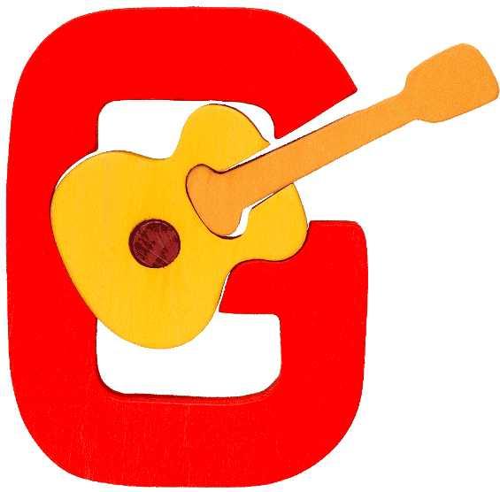 Dřevěné vkládací puzzle z masivu - Abeceda písmenko G kytara