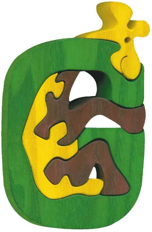 Dřevěné vkládací puzzle z masivu - Abeceda písmenko G žirafa