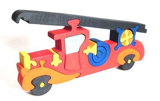 Dřevěné vkládací puzzle z masivu - Velké hasičské auto