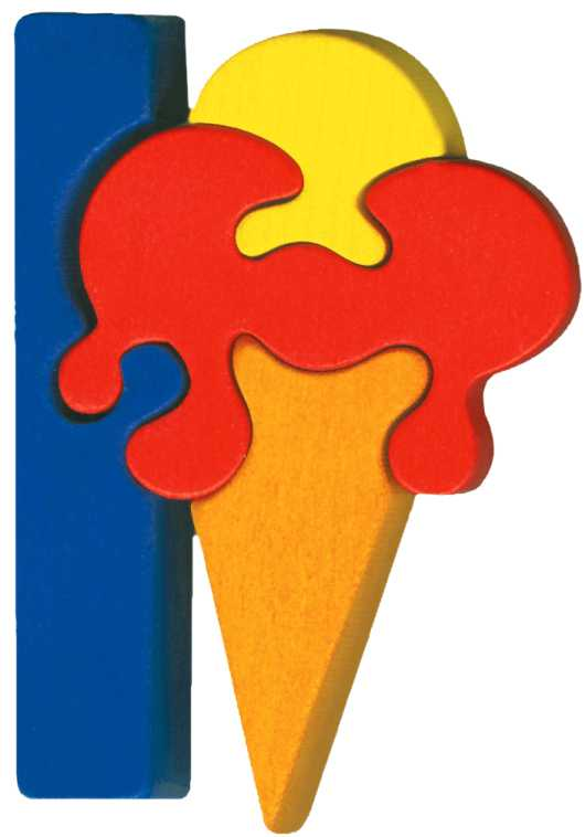 Dřevěné vkládací puzzle z masivu- Abeceda písmeno I zmrzlina